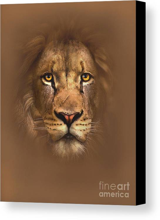 Lion Canvas Print featuring the painting Scarface Lion by Robert Foster