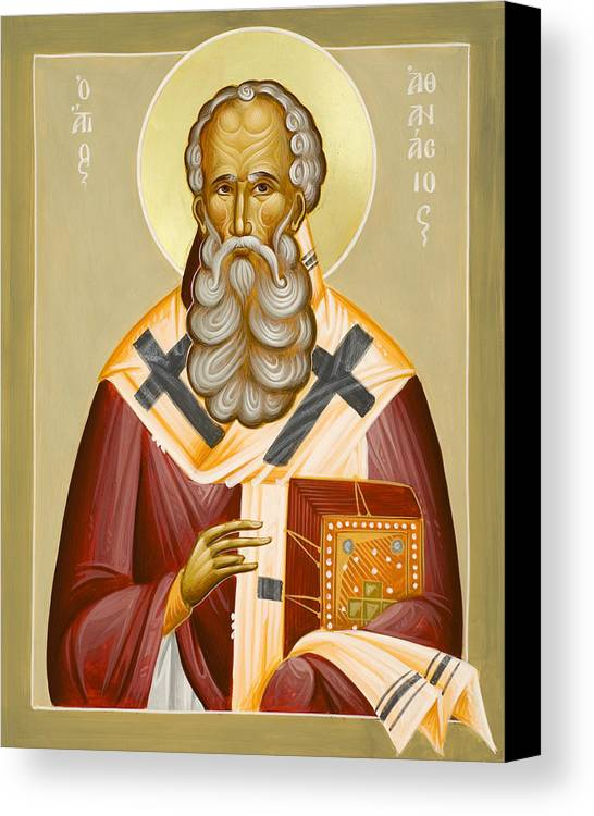 St Athanasios The Great Canvas Print featuring the painting St Athanasios The Great by Julia Bridget Hayes