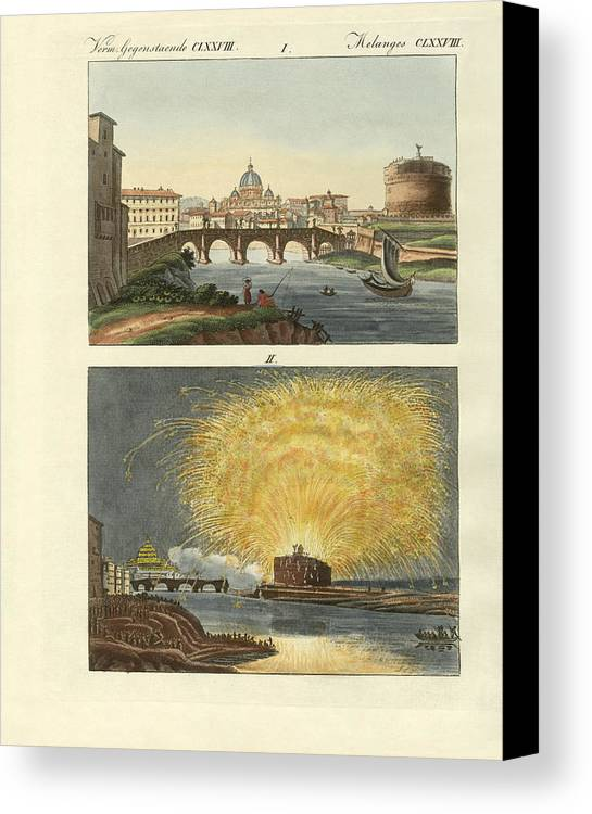 Bertuch Canvas Print featuring the drawing Strange Buildings In Rome by Splendid Art Prints