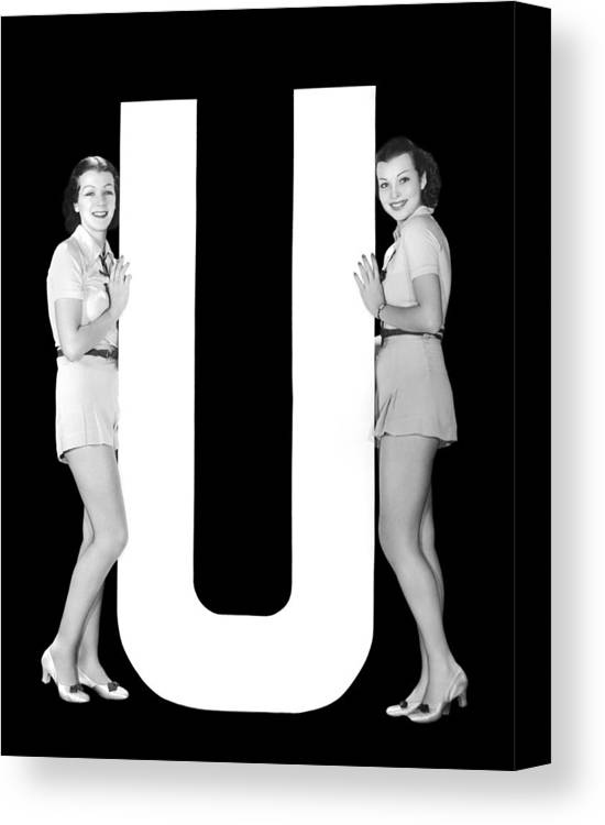 1035-574 Canvas Print featuring the photograph The Letter u And Two Women by Underwood Archives