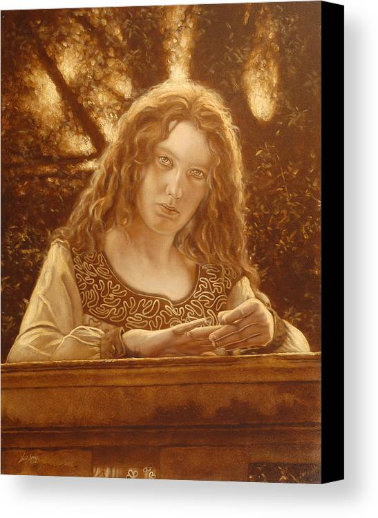 Girl Canvas Print featuring the painting The Meeting Place by John Silver
