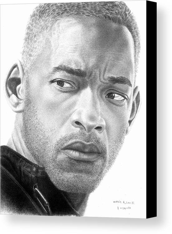 Portrait Canvas Print featuring the drawing Will Smith by Marvin Lee