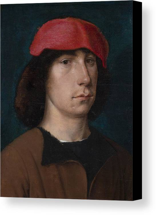 Young Canvas Print featuring the painting A Young Man In A Red Cap by Michiel Sittow
