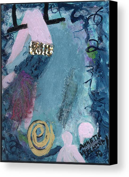 Women Canvas Print featuring the painting Flying Without A Net by Annette McElhiney