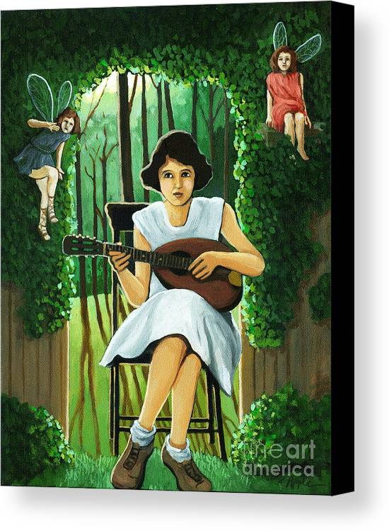 Fantasy Canvas Print featuring the painting Secret Garden Fantasy Fairy by Linda Apple