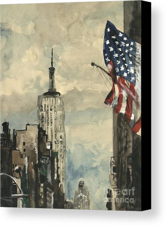 Flagpole Canvas Print featuring the painting A Watercolor Sketch Of New York by Dirk Dzimirsky