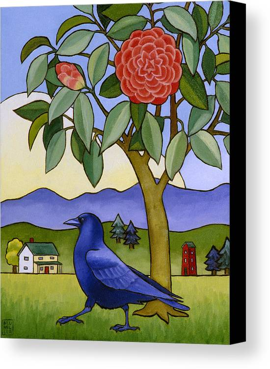 Crow Canvas Print featuring the painting Camellia And Crow by Stacey Neumiller