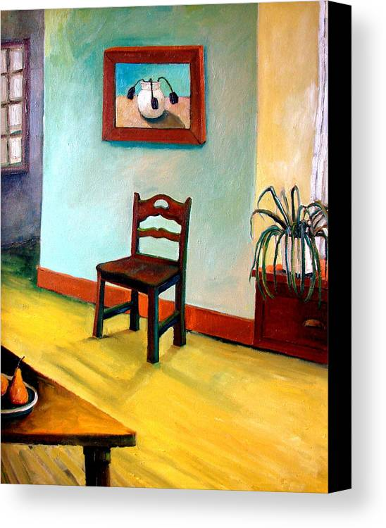 Apartment Canvas Print featuring the painting Chair And Pears Interior by Michelle Calkins