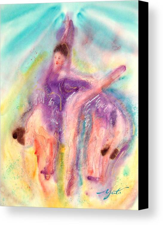 Ballet Art Canvas Print featuring the painting Colorful Dance by John YATO