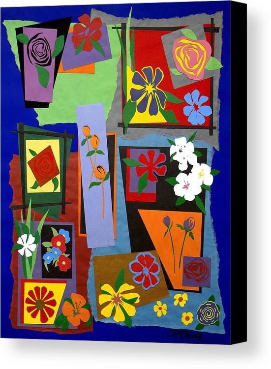 Cut Paper Canvas Print featuring the tapestry - textile Flowers Study 1 by Teddy Campagna