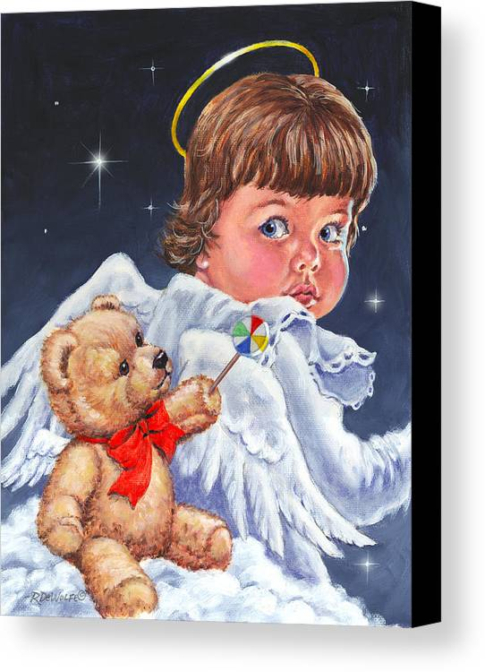 Angel Canvas Print featuring the painting Heavenly by Richard De Wolfe