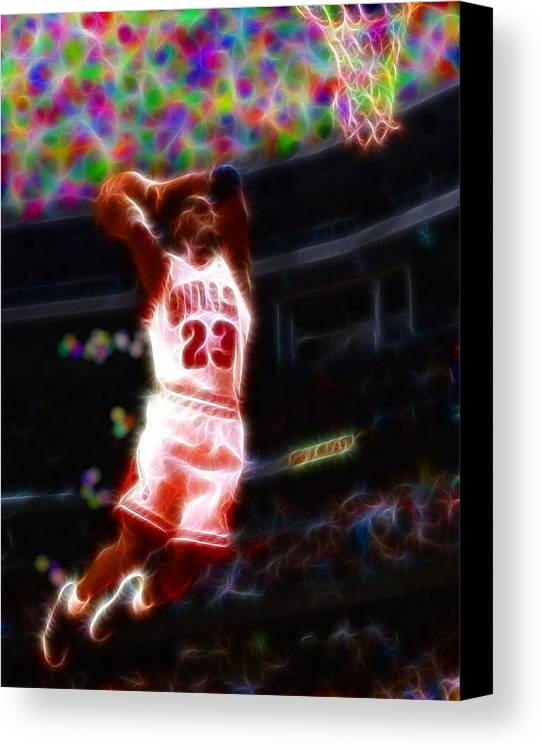 Michael Jordan Canvas Print featuring the painting Magical Michael Jordan White Jersey by Paul Van Scott
