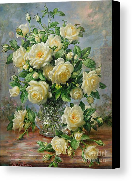 In Honour Of Lady Diana Spencer (1961-97); Still Life; Flower; Rose; Arrangement; Princess Of Wales (1981-96); Homage; Yellow; Flowers; Leafs Canvas Print featuring the painting Princess Diana Roses In A Cut Glass Vase by Albert Williams