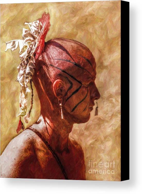 War Canvas Print featuring the digital art Shawnee Indian Warrior Portrait by Randy Steele