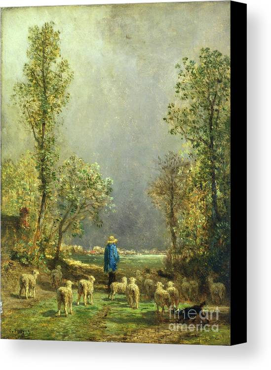 Sheep Canvas Print featuring the painting Sheep Watching A Storm by Constant-Emile Troyon