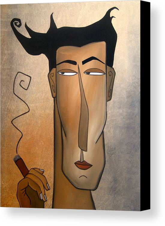 Fidostudio Canvas Print featuring the painting Smoke Break by Tom Fedro - Fidostudio