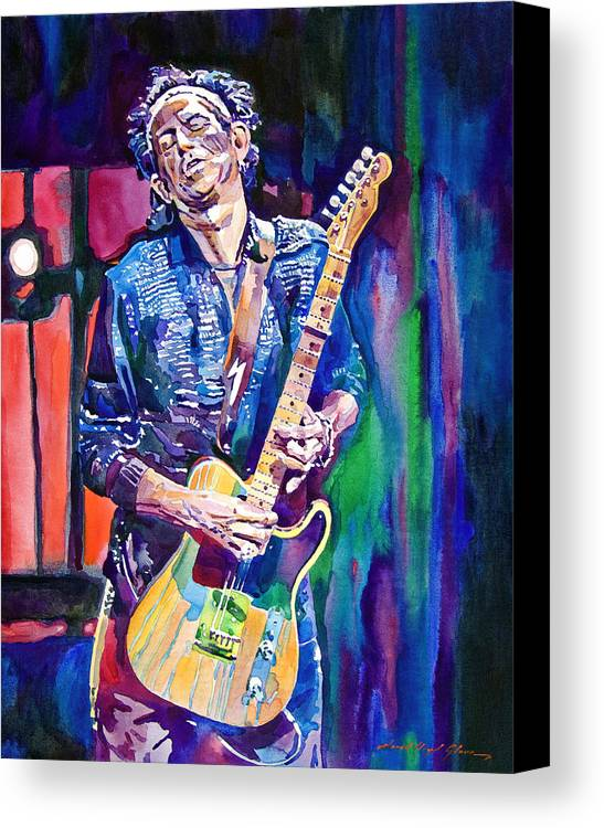 Keith Richards Canvas Print featuring the painting Telecaster- Keith Richards by David Lloyd Glover
