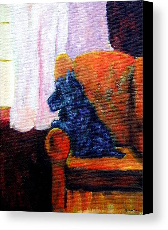 Scottish Terrier Canvas Print featuring the painting Waiting For Mom - Scottish Terrier by Lyn Cook