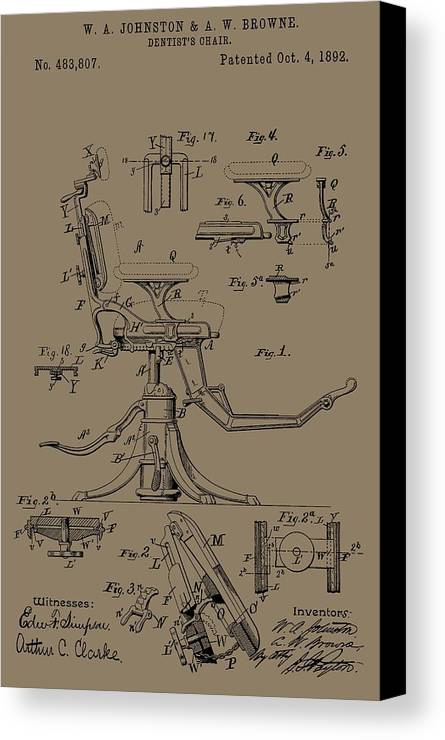 Antique Dental Chair Patent Canvas Print featuring the mixed media Dentist's Office by Dan Sproul