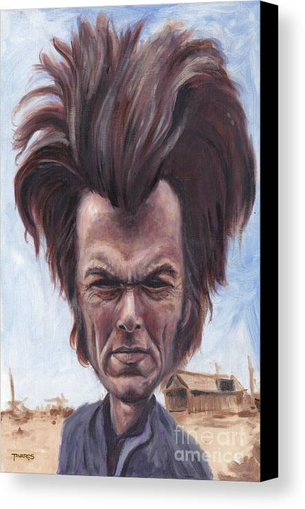 Clint Canvas Print featuring the painting Dirty Hairy by Mark Tavares