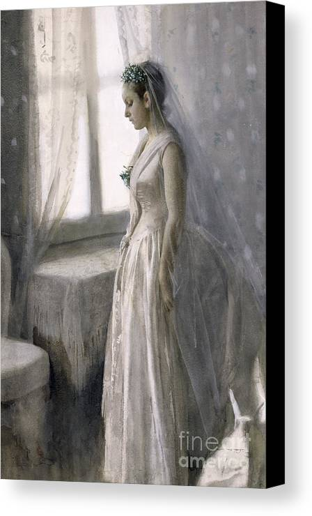 Female Canvas Print featuring the painting The Bride by Anders Leonard Zorn