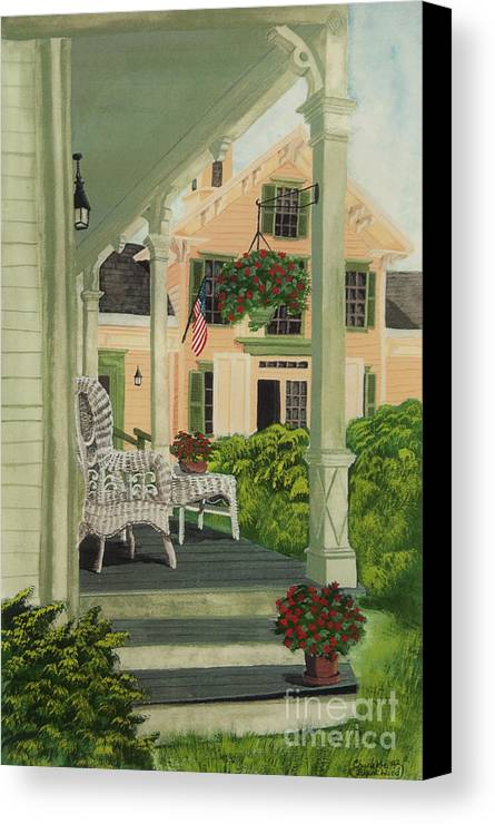 Side Porch Canvas Print featuring the painting Patriotic Country Porch by Charlotte Blanchard