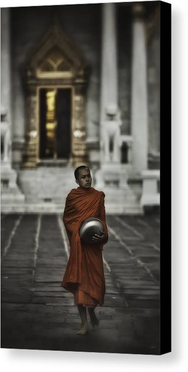 Thailand Canvas Print featuring the photograph Wat Bencha Monk by David Longstreath