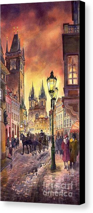 Cityscape Canvas Print featuring the painting Prague Old Town Squere by Yuriy Shevchuk