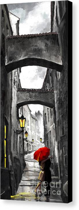 Black Canvas Print featuring the digital art Love Story by Yuriy Shevchuk
