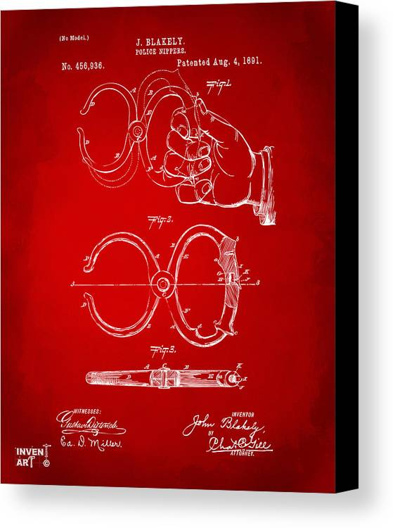 Police Canvas Print featuring the drawing 1891 Police Nippers Handcuffs Patent Artwork - Red by Nikki Marie Smith