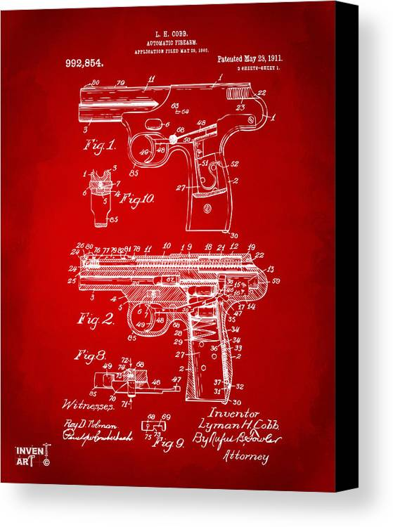 Police Gun Canvas Print featuring the drawing 1911 Automatic Firearm Patent Artwork - Red by Nikki Marie Smith