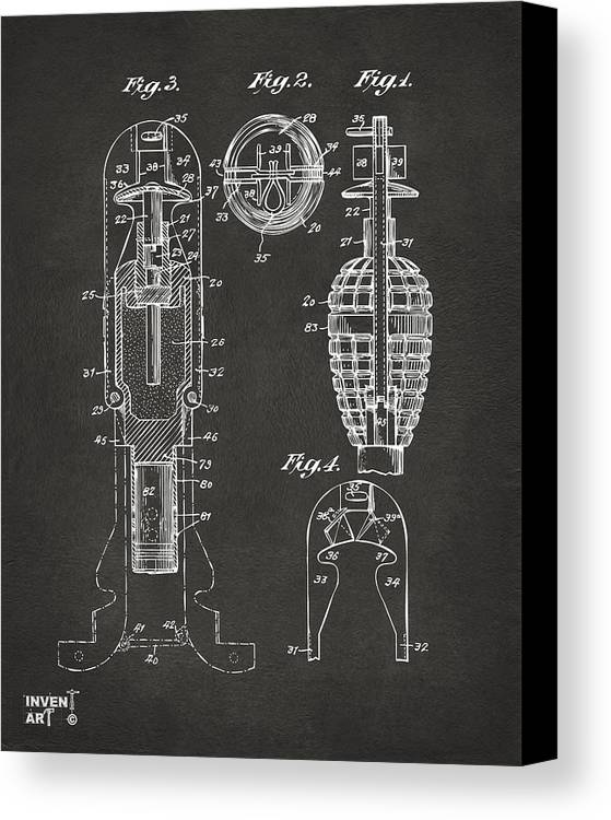 Explosive Missle Canvas Print featuring the drawing 1921 Explosive Missle Patent Minimal Gray by Nikki Marie Smith