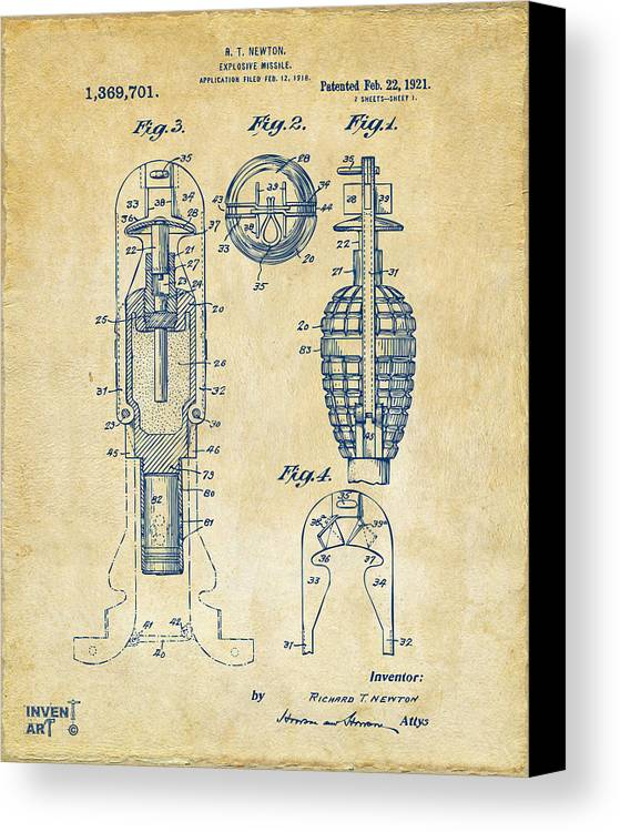 Explosive Missle Canvas Print featuring the drawing 1921 Explosive Missle Patent Vintage by Nikki Marie Smith