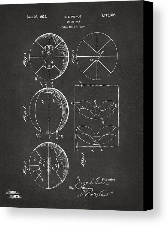 Basketball Canvas Print featuring the drawing 1929 Basketball Patent Artwork - Gray by Nikki Marie Smith