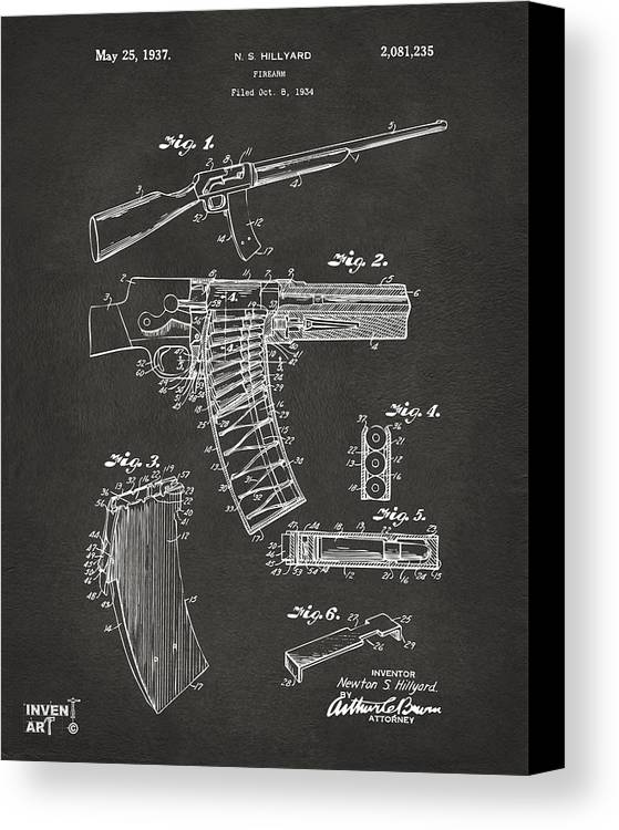 Police Gun Canvas Print featuring the drawing 1937 Police Remington Model 8 Magazine Patent Artwork - Gray by Nikki Marie Smith