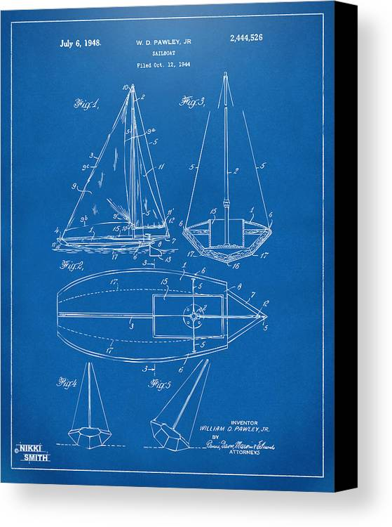 Sailboat Canvas Print featuring the drawing 1948 Sailboat Patent Artwork - Blueprint by Nikki Marie Smith