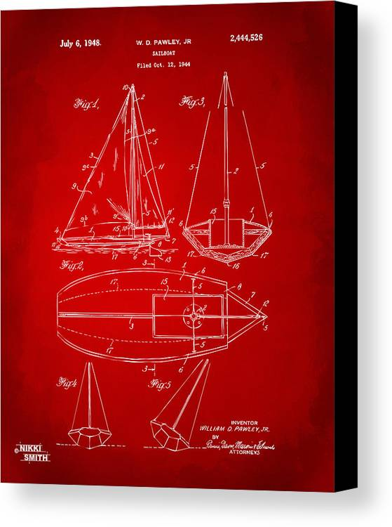 Rowboat Canvas Print featuring the drawing 1948 Sailboat Patent Artwork - Red by Nikki Marie Smith