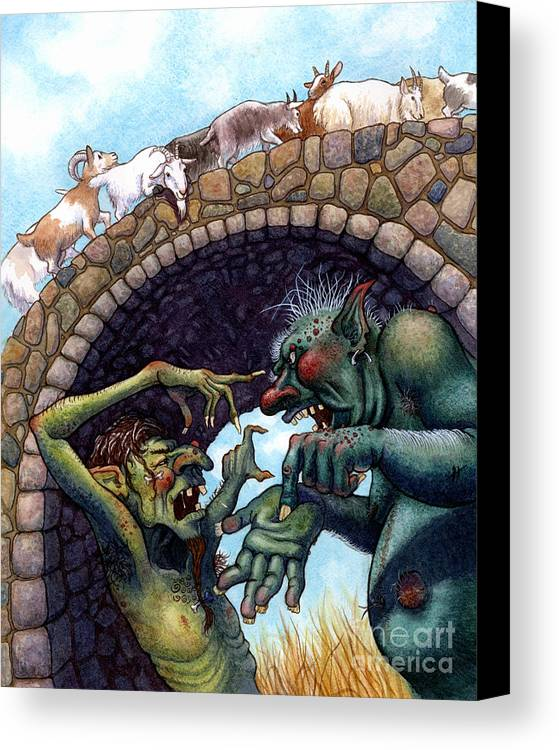Children Canvas Print featuring the painting 2 Ugly Trolls by Isabella Kung