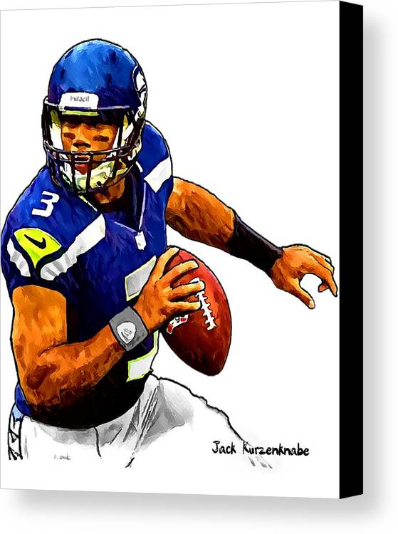 Sports Nfl Art Sketch Drawings nfl Art nfl Artwork nfl Drawings nfl Sketches seattle Seahawksseattle Seahawks Russell Wilson Canvas Print featuring the digital art 302 by Jack K