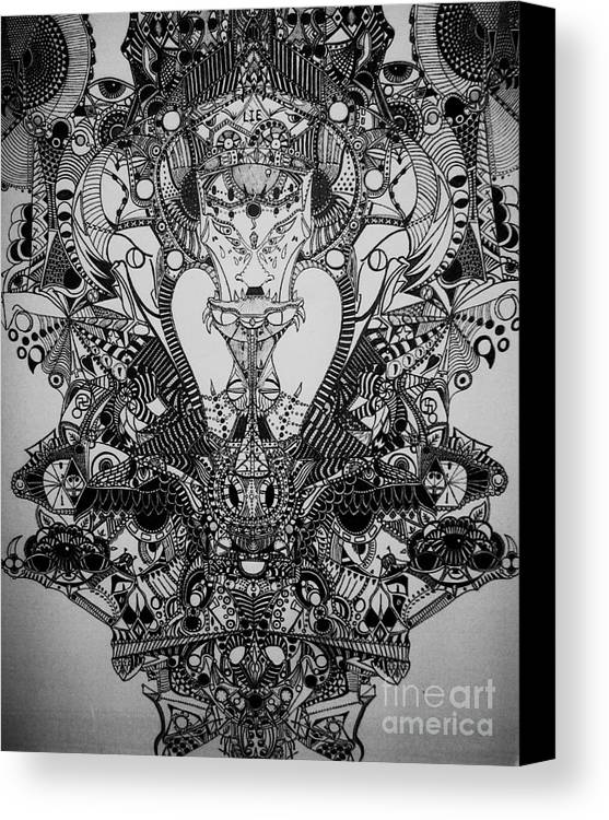 Michael Kulick Canvas Print featuring the drawing Antichrist by Michael Kulick