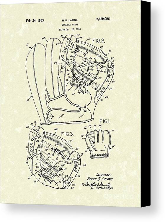 Latina Canvas Print featuring the drawing Baseball Glove 1953 Patent Art by Prior Art Design