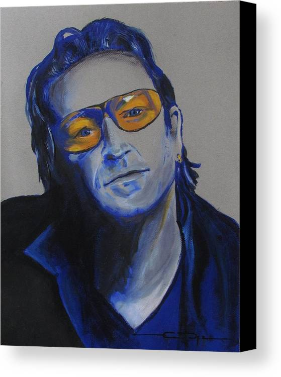 Celebrity Portraits Canvas Print featuring the painting Bono U2 by Eric Dee