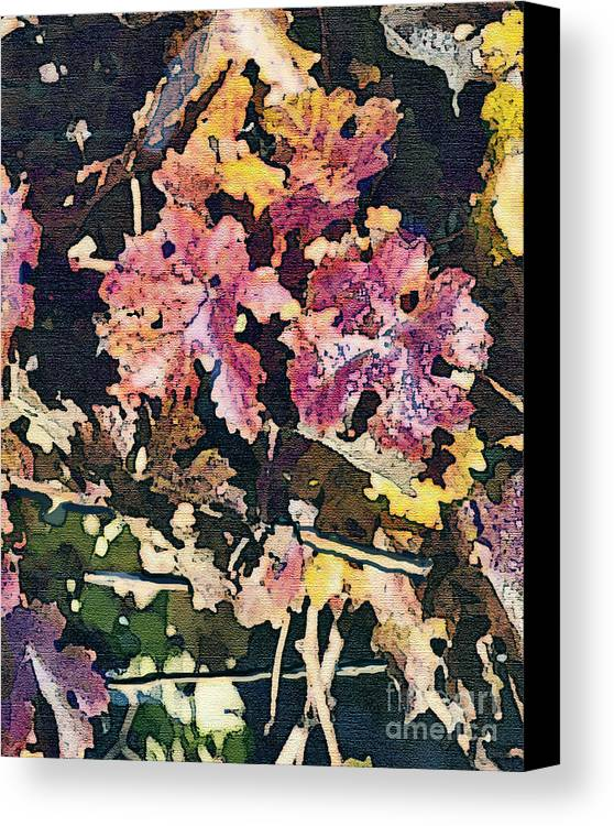 Corde Valle San Martin Ca Canvas Print featuring the painting California Vineyard Series Fall Grape Leaves by Artist and Photographer Laura Wrede