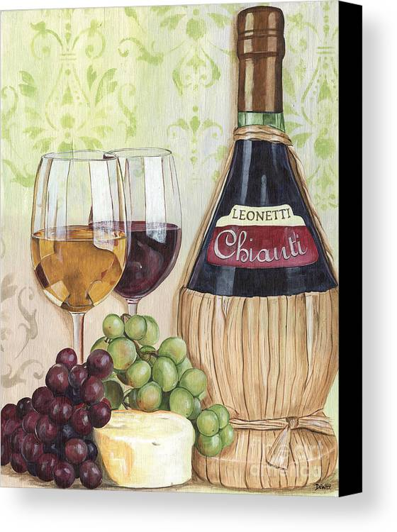 Wine Canvas Print featuring the painting Chianti And Friends by Debbie DeWitt