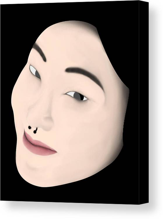 Girl Canvas Print featuring the digital art Chinese Girl by Sara Ponte