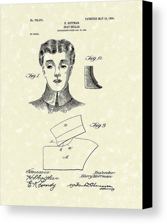 Hoffman Canvas Print featuring the drawing Coat Collar 1904 Patent Art by Prior Art Design