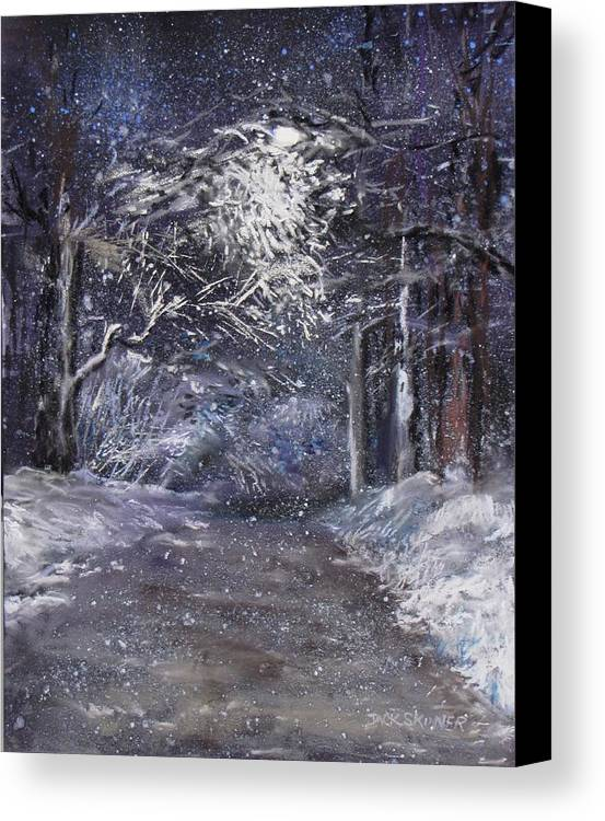 Snow Canvas Print featuring the painting Country Road On A Wintery Night by Jack Skinner