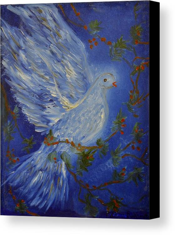 Dove Canvas Print featuring the painting Dove Spirit Of Peace by Louise Burkhardt