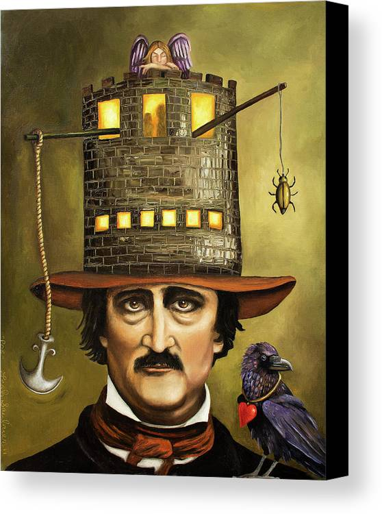 Poe Canvas Print featuring the painting Edgar Allan Poe by Leah Saulnier The Painting Maniac