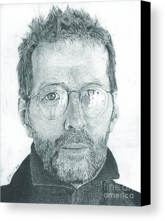 Eric Clapton Legendary Guitar Player Songwriter Slowhand Derek And The Dominoes Cream Canvas Print featuring the drawing Eric Clapton by Jeff Ridlen